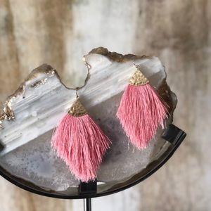 Pink Tassel Fringe Boho Dangle Earrings